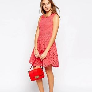 Yumi Coral Eyelet Fit & Flare Dress Brodiere ALine